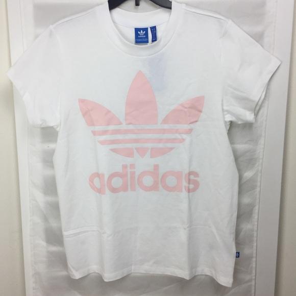 9ec2b97ae4eec adidas Originals Big Trefoil Tee (White/Pink) NWT